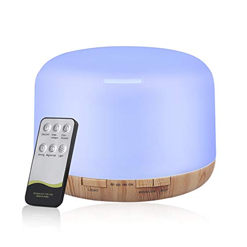 500ml Humidificador Aire Ultrasónico, Difusor de Aceites Esenciales, Difusor de Aromaterapia, Lámpara de Noche con LED de 7 Colores de para Hogar/Bebé/Oficina