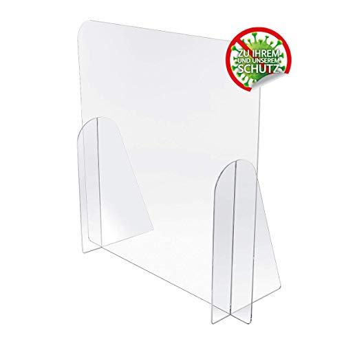 Kartenmachen.de Spuckschutz aus Acrylglas Virenschutz, Hustenschutz, Thekenaufsatz - Breite 75 cm, Höhe 75 cm ohne Durchreiche
