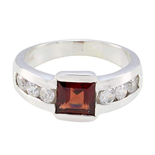 joyas plata buenas piedras preciosas forma cuadrada multi piedra facetada multi anillo de piedra - plata maciza multi color multi anillo de piedra - nacimiento de junio géminis