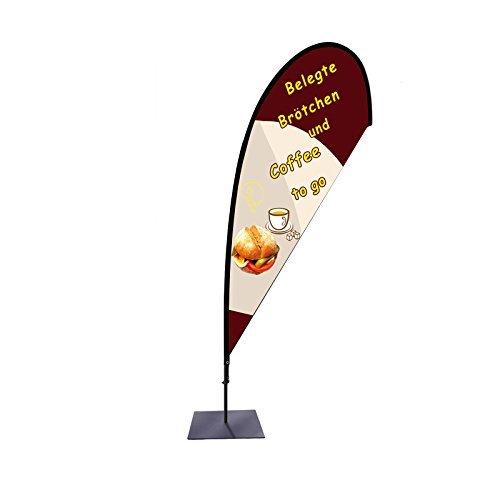 Beachflag Coffee to go Werbefahne über 2m hoch T1 mit Bodenplatte für den Außen- und Innenbereich