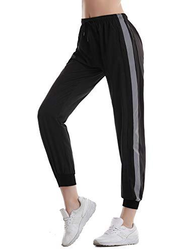 Aibrou dames joggingbroek sneldrogend sportbroek strepen vrijetijdsbroek trainingsbroek katoen lang voor joggen lopen fitness