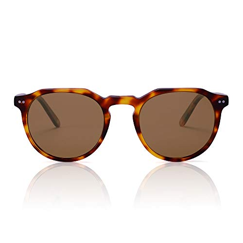 ANGEL REGAL Round Sunglasses for Women Men, Retro Polarized Acetate Sunglasses Slim Frame Fashion Designer Style Tortoise/Brown