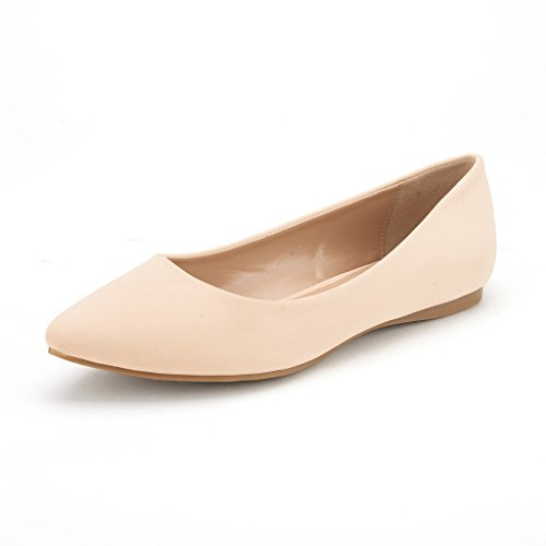 DREAM PAIRS Sole Classic Women s Casual Pointed Toe Ballet Comfort Soft Slip On Flats Shoes Nude Nubuck Size 8