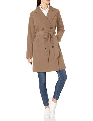 Amazon Essentials Women's Relaxed-Fit Water-Resistant Trench Coat, Khaki, Small