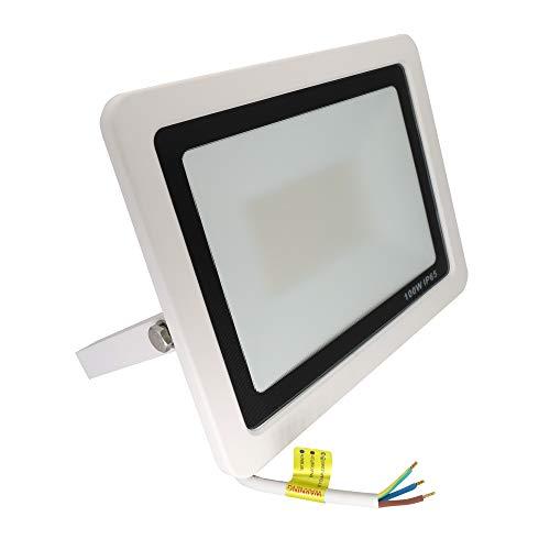 Popp Floodlight Led Foco Proyector Led para Exterior Iluminación Decoración 6000k luz fria Impermeable IP65 blanco con cristal opal y Resistente al agua. (100)