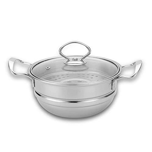 HIZLJJ Acero Inoxidable de Vapor del hogar Espesado Sopa de mariscos de Vapor Pot Hot Pot Cuenca Sauna Pot Cocina de Gas Olla Dormitorio