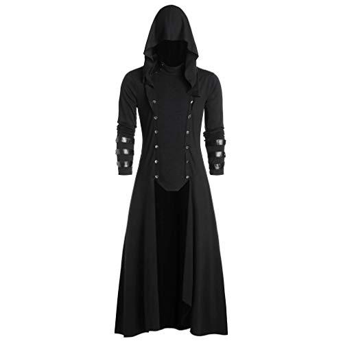 PPangUDing Steampunk Jacke Herren Vintage Gothic Langer Einfarbig Viktorianischen Mittelalter Uniform Cosplay Kostüm Kapuzenpullover Retro Gericht Stil Unregelmäßigen Militäruniform Knopf Mantel