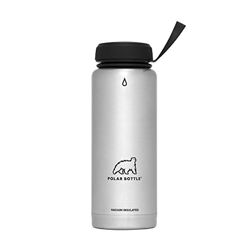 Polar Bottle Thermaluxe - Vacuum Insulated Stainless Steel Travel Mug, Stainless Steel {Standard Cap - Black}, 21 oz.