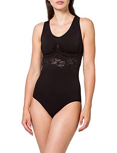 belly cloud DamenFormender Body figurformend mit Liliendesign, Gr. 42/44 (XL), Schwarz (schwarz)