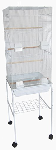 "YML 6824 3/8"" Bar Spacing Tall Flat Top Bird Cage with Stand, 18"" x 14""/Small, White"