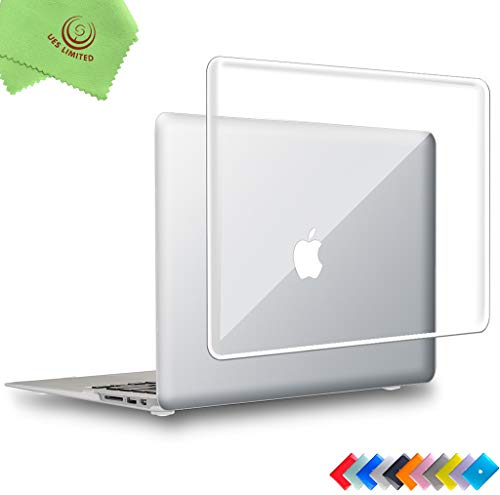 UESWILL Glossy See Through Crystal Clear Hard Shell Case Cover for 2008-2017 MacBook Air 13 inch (Model: A1466/A1369) + Microfibre Cleaning Cloth, Clear