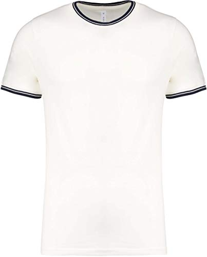 Kariban T-Shirt Maille piquée col Rond Homme - Off White/Navy, 3XL, Homme