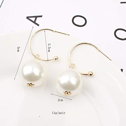 Lady Fashion Big Women Elegant Pearl Long Dangle Stud Earrings Personality Gift