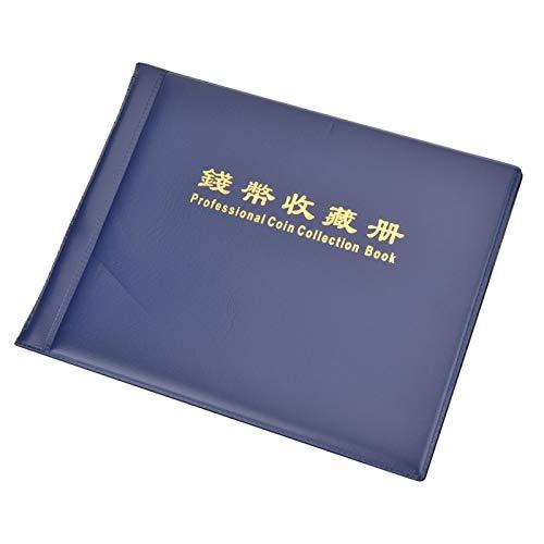 Portamonete, Tipo Plug-in 10 Pagine 240 Pezzi Monete Libro di immagazzinamento Monete Vassoio di Raccolta Monete Album di Monete, Penny Regalo per Dollari d'Argento Decorazione Domestica(Blue)