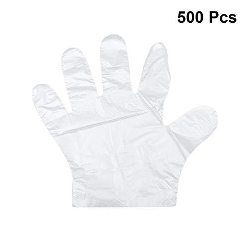 Yardwe 500 stücke Kunststoff Food Service PE Einweg Klar PE Handschuhe für Küche Restaurant Kochen Industrielle Medizinische Reinigung Weiß