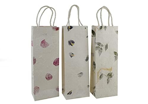 Öko-Tragetasche Geschenkverpackung handgefertigt Bougainvillea, Iris und Blätter für Weinflaschen - Stück pro Packung 3 (35cm x 13cm x 9cm)