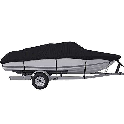 EDAHBCubierta para botes Trailerable, 210D / 420D para trabajo pesado Paño de Oxford de grado marino Impermeable a prueba de rayos UV V-hull Runabout Jumbo Boat Lancha rápida Pesca Ski Cubiertas para