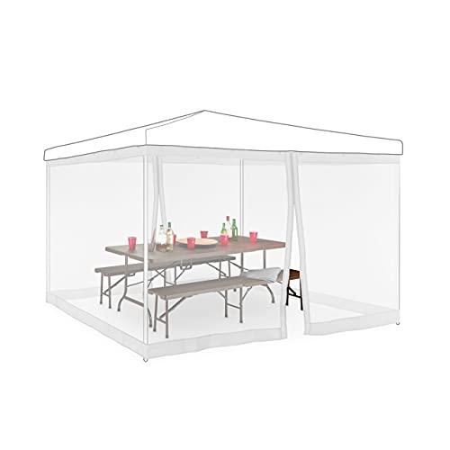 Relaxdays Set da 2 Zanzariere per Gazebo 3x3m, Dimensioni 2x6 m, con Cerniera e Chiusura a Strappo, Anti Vespe, Bianco