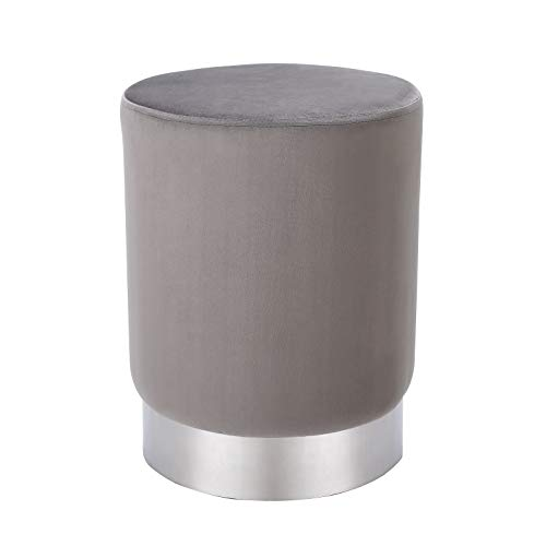 BIRDROCK HOME Round Grey Velvet Ottoman Foot Stool – Soft Compact Padded Vanity Stool - Great for The Living Room, Bedroom and Kids Room - Small Furniture (Grey)