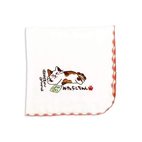 みたらしちゃん タオルハンカチ 赤(おやつ)ハンドタオル 綿100% 日本製 可愛い 猫 ねこ