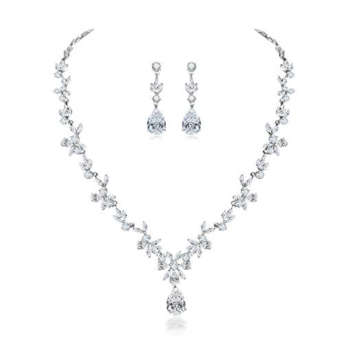Jewelry Set for Women, White Gold Plated Wedding Party Jewelry for Bridal Bridesmaid, Necklace Dangle Earrings Set with White AAA Cubic Zirconia