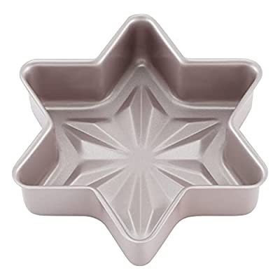 CHEFMADE Star-Shaped Cake Pan, 8-Inch Non-Stick Diamond Surface Cake Bread and Meat Bakeware for Oven and Instant Pot Baking (Champagne Gold)