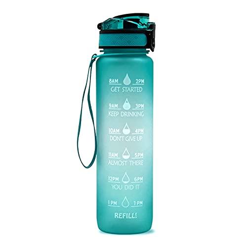 UYVBIAA Botella de agua de 1 l, botella de agua deportiva con marcador de tiempo de boca ancha, a prueba de fugas, tecnología de flujo rápido, portátil, reutilizable, hervidor de agua