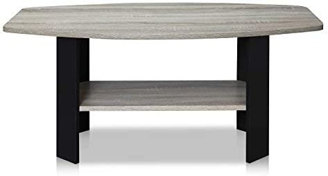 Best FURINNO Simple Design Coffee Table, French Oak Grey/Black