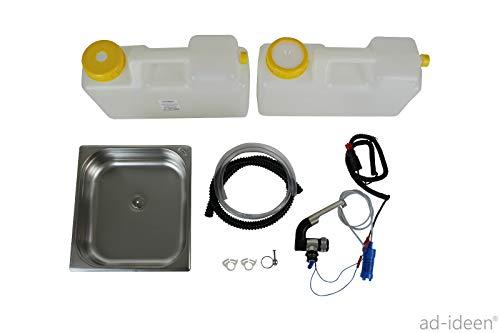 12 Volt Wasserversorgung Miniküche Küchenblock Reiseküche Wohnmobil Bus VW T3 T4 T5 354x325x100 mm + Barwig Chrom Wasserhahn(ad-ideen)