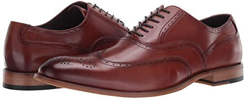 STACY ADAMS Men's Dunbar-Wingtip Oxford, Cognac, 11.5 M US