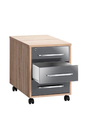 MAJA-Möbel 1716 2574 Rollcontainer, Sonoma-Eiche-Nachbildung - grau Hochglanz, Abmessungen BxHxT: 43 x 59 x 65 cm