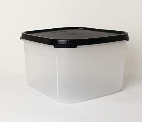 TW TUPPERWARE Eidgenosse quadratisch 2,6L Schwarz Vorratsbehälter + Mini Falt Sieb schwarz