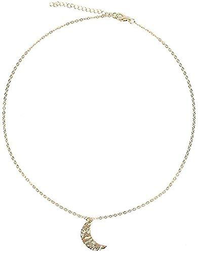 YOUZYHG co.,ltd Collar Collar Grande Elemento de Luna Creciente Cadena de clavícula Femenina Hecha a Mano Simple para Enviar a la Novia Regalo de joyería