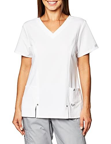 Dickies Damen Xtreme Stretch V-Ausschnitt Scrubs Shirt - Weiß - X-Klein