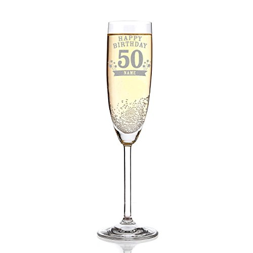 Leonardo Sektglas mit Wunschname zum 50. Geburtstag inkl. Gratis Gravur