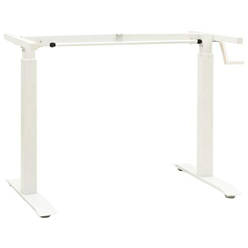 vidaXL Schreibtisch Gestell Manuell Höhenverstellbar Handkurbel Tischgestell Arbeitstisch Schreibtischgestell Schreibtischrahmen Weiß