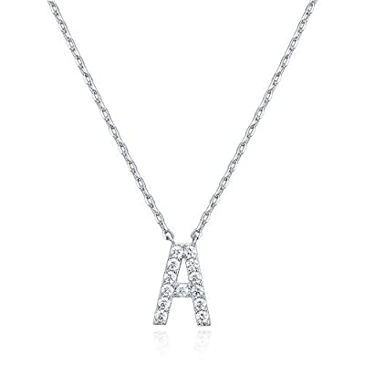 PAVOI 14K White Gold Plated Cubic Zirconia Initial Necklace | Letter Necklaces for Women | A Initial