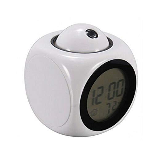 LED-Projektionsanzeige, Uhrzeit, Digital, Sprechende Uhren, Thermometer, Schlummerfunktion für Zuhause und Büro