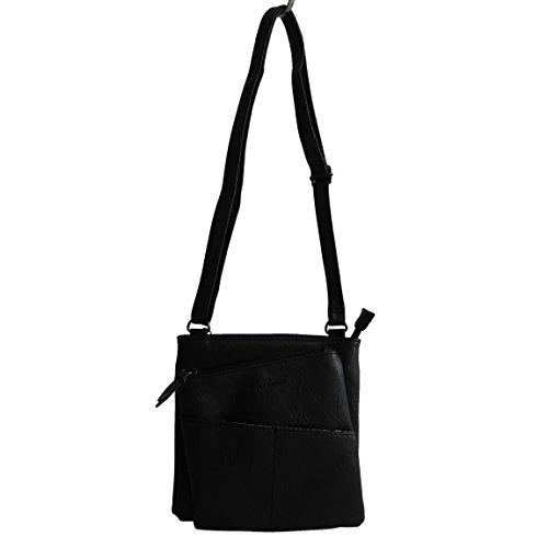 Jennifer Jones - kleine -DamenHandtasche Clutch Umhängetasche Abendtasche Ausgehtasche Schultertasche (Schwarz) - präsentiert von ZMOKA®
