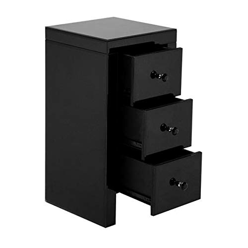 onEveryBaby Nightstand Mirrored Glass Bedside Table with Three Drawers Black