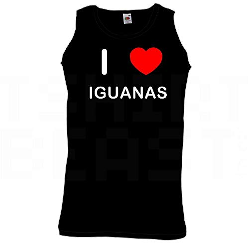 BadgeBeast.co.uk I Love Heart Iguanas - Große Schwarze Weste