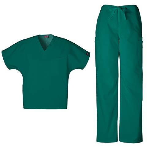 Cherokee Workwear Men's Dental/Medical Uniform Scrub Set - 4777 V-Neck Scrub Top & 4000 Drawstring Cargo Pants (Hunter - Large/Large)