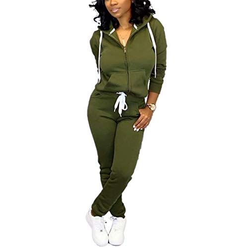 Nimsruc Jogging Suits for Women 2 Piece Tracksuit Long Sleeve Casual Hooded Zipper Pants Set Army Green XXL