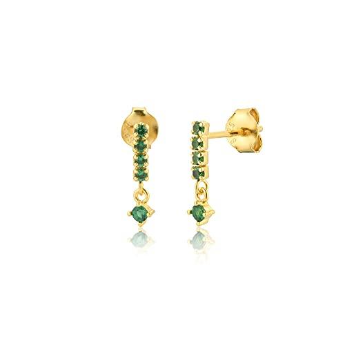 925 amuleto colorido de plata zirconio pendiente del perno prisionero pendiente de la joyería de lujo pendientes Rock Punk Party-Gold Green