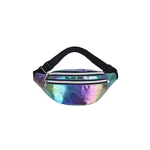 Yuxahiugyb Bolso Paquetes de Cintura, Bolso de la Cintura del Paquete de Fanny Cintas con Cremallera con láser Bolsas de cinturón de Mujer (Color : Colorful)