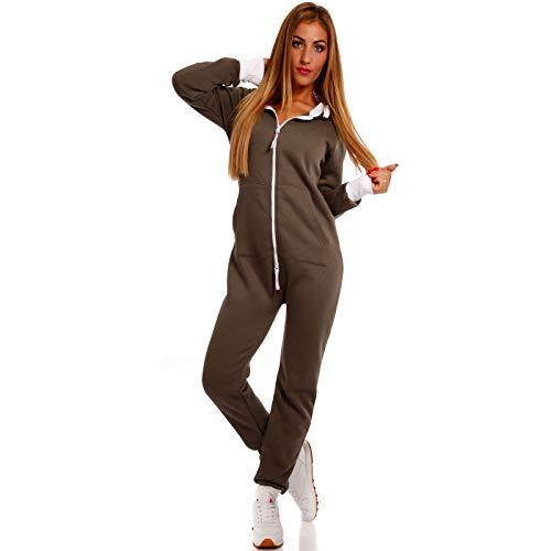 Crazy Age Basic Jumpsuits Ganzkörperanzug Einteiler One Piece Schlafanzug Overall Damen Jumpsuit Kuschelig und warm (XS, Khaki)