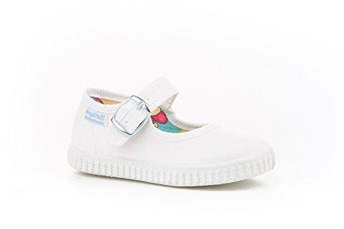 Zapatillas Merceditas de Lona para Niñas, Angelitos mod.123, Calzado Infantil Made in Spain, Garantia de Calidad. (21, Blanco)