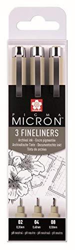 Caja de 3 rotuladores de punta fina Pigma Micron de Sakura, color negro.