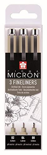 SAKURA POXSDK3 Fineliner PIGMA MICRON, 3er Etui, schwarz