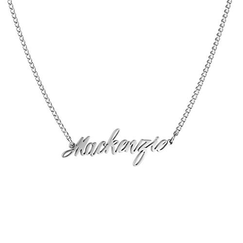 WIGERLON Custom Name Necklace Personalized Pendant 18k White Gold Plated for Women and Girl Silver